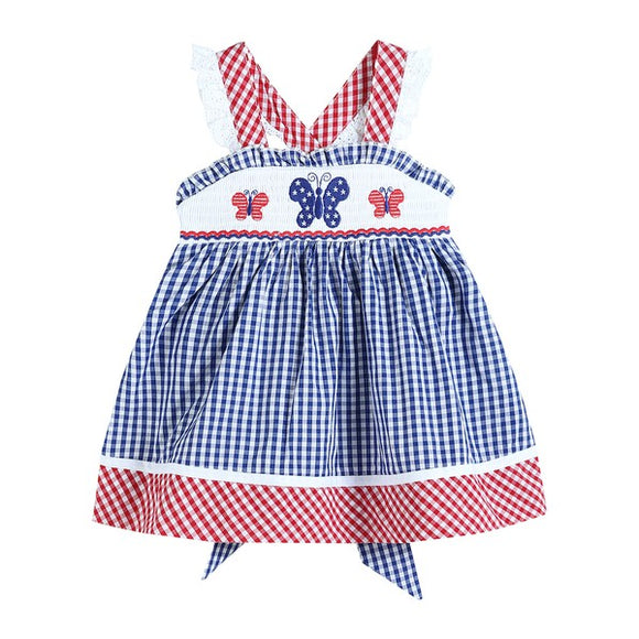 Red White & Blue Smocked Butterfly Sundress