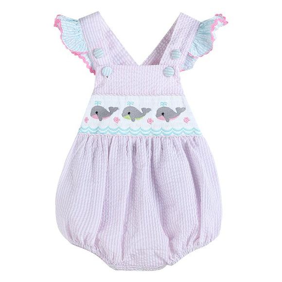 Pink Seersucker Bubble Romper with Whales