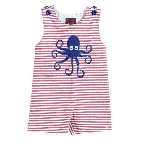 Red Striped Jon Jon with Octopus Applique