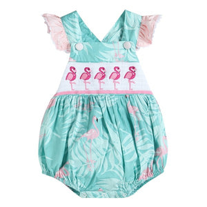 Turquoise Flamingo Bubble Romper with Ruffles
