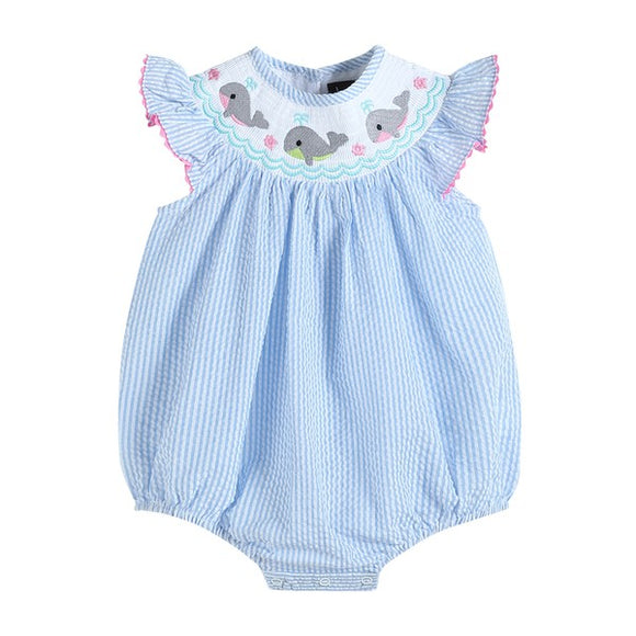 Blue and White Striped Whale Smocked Bubble Romper