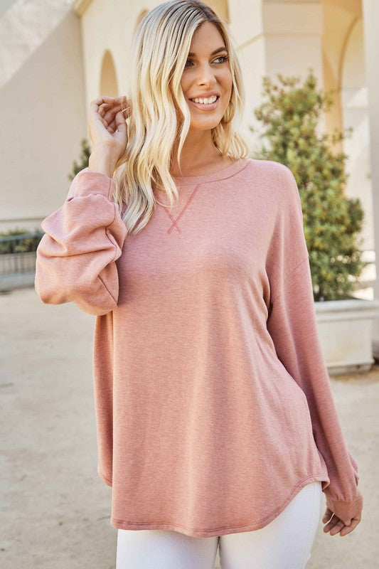 Marsala Solid French Terry Sweatshirt