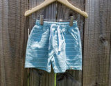 Aqua/White Striped Jersey Shorts