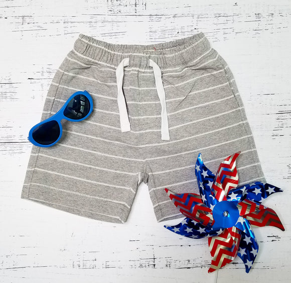 Grey/White Striped Jersey Shorts