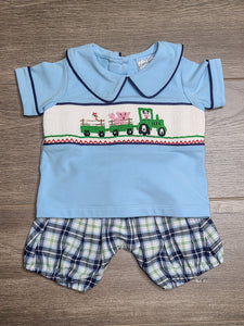 Tractor Smocked Boy's Top and Bloomer Set