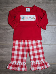 Farm Life Red Ruffle Girl's Set