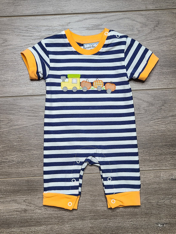 Pumpkin Train Boys Romper