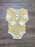 Yellow Stripe Henley Onesie