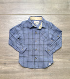 Blue and Black Plaid Woven Shirt