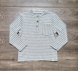Grey Stripe Henley Shirt