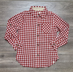 Red/White Plaid Woven Shirt