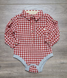 Red/White Plaid Woven Onesie
