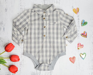 Grey/White Plaid Woven Onesie
