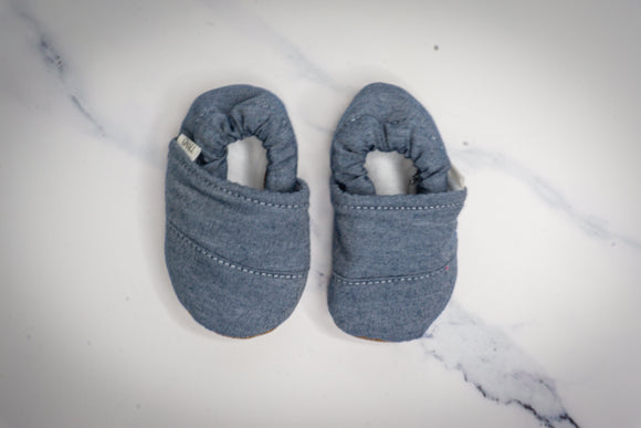 Blue Linen Baby Moccasins