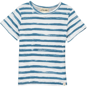 Blue Hand Painted Stripe Tee