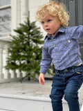 Blue and Black Plaid Woven Onesie