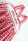 Red Gingham Patriotic Flags Dress