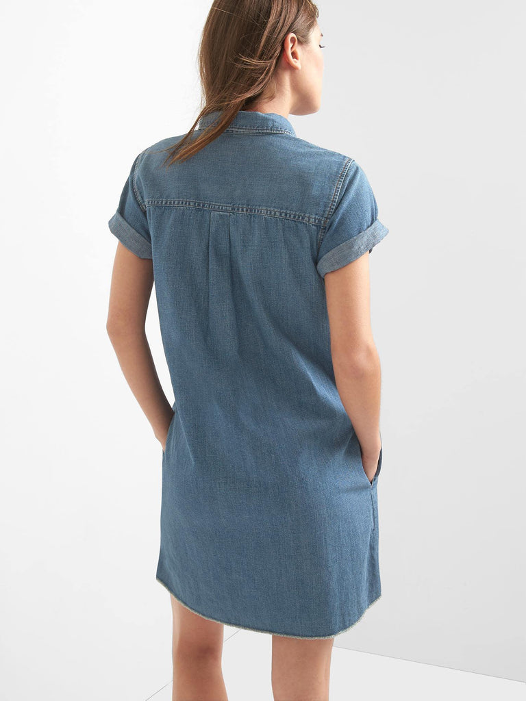 Popover Denim Shirtdress - Dippla.Shop