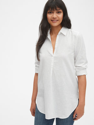 Boyfriend Popover Tunic in Linen - Dippla.Shop