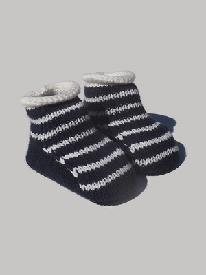 ZY The Little Tailor Cream Knitted Plush Lined Booties - Dippla.Shop
