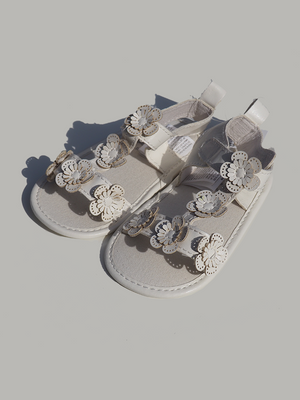 White Leather Baby Pram Sandals With Flowers - Dippla.Shop