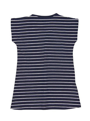 Knit Stretch Dress for Girl, Blue (Stripes) - Dippla.Shop