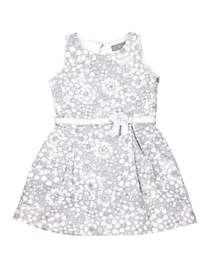 Grey Floral Satin Dress by Boboli - Dippla.Shop