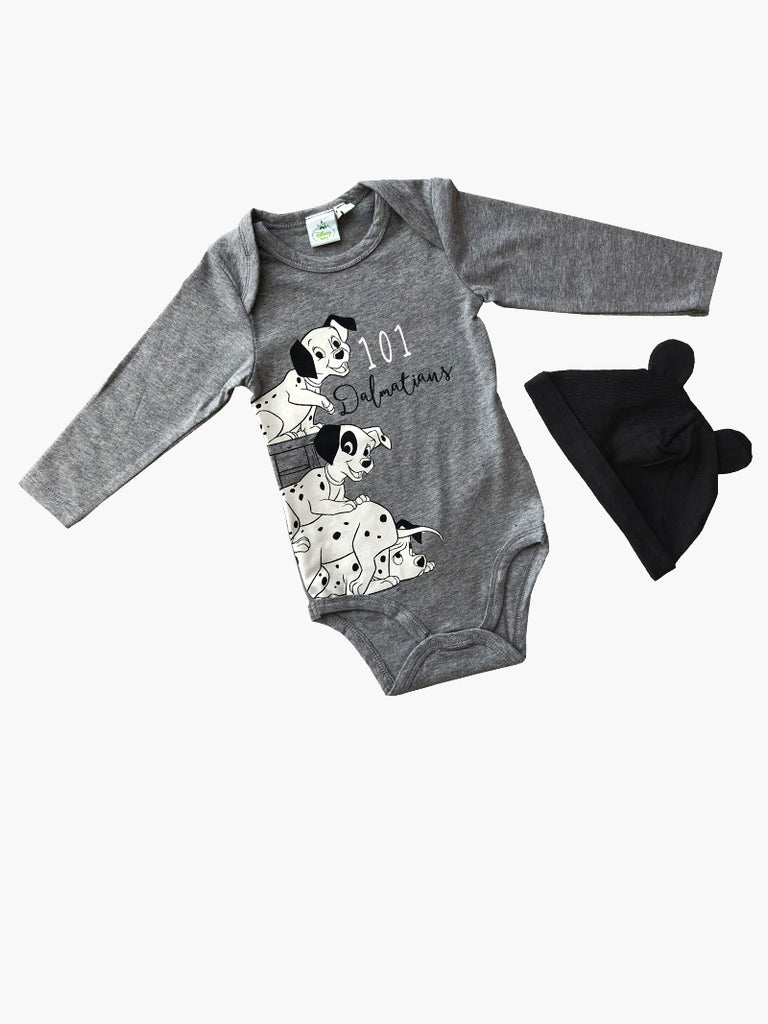 Disney 101 Dalmatians Printed Bodysuit with Long Sleeves and Hat with Ears - Dippla.Shop