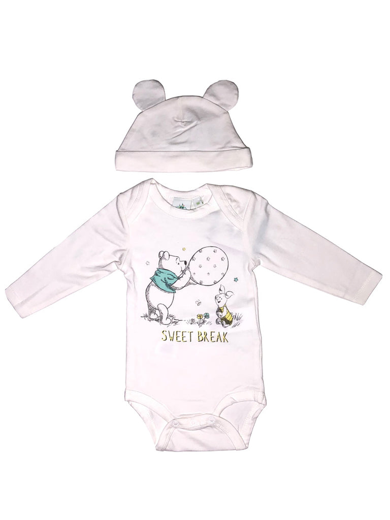 Disney Winnie Pooh Printed Bodysuit with Long Sleeves and Hat with Ears - Dippla.Shop