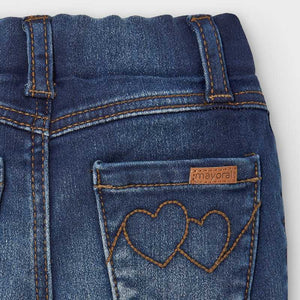 Adjustable Jeans w/heart Embroidered Pockets