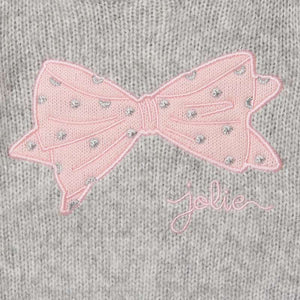 Grey Knit Sweater w/Pink Bow Embroidery