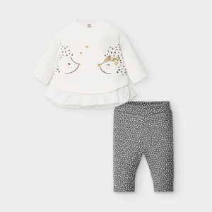 Cream & Grey Hedgehog Legging Set