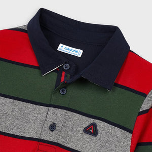 Green, Grey & Red Color Block Polo