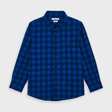 Load image into Gallery viewer, Blue Checked Button Down Flannel