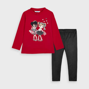 Red Doll Applique Set w/ Faux Suede Leggings