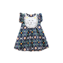 Load image into Gallery viewer, Navy Floral Dress w/ cat applique