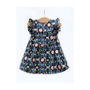 Navy Floral Dress w/ cat applique