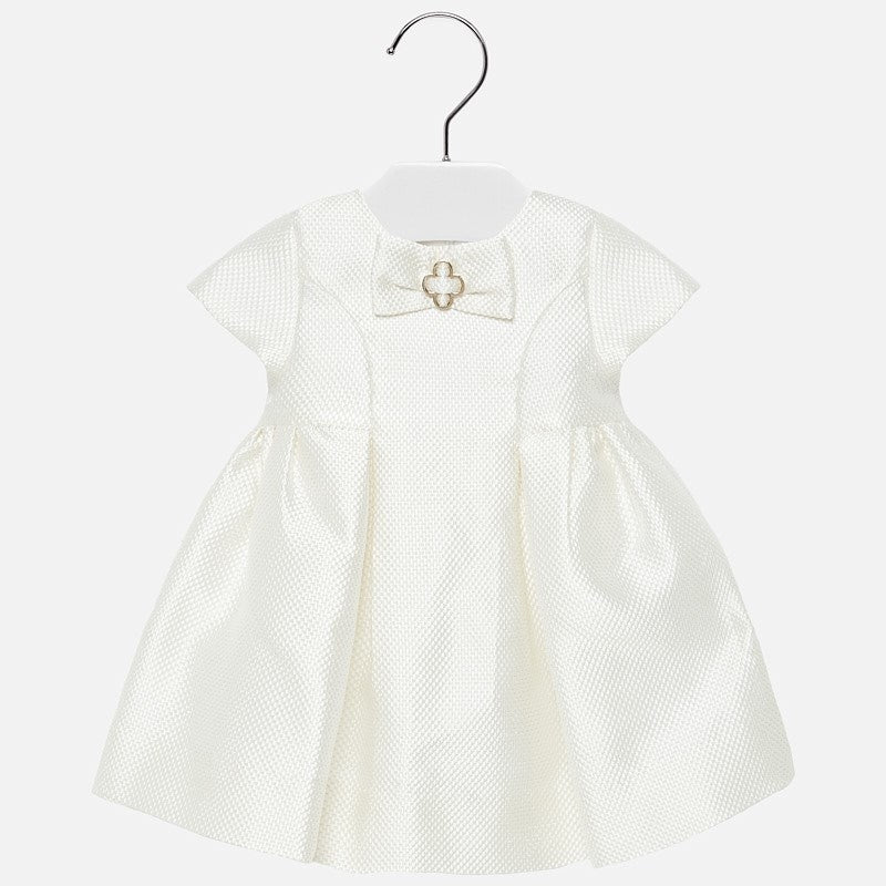 Ivory Jacquard Dress for Baby Girl - Mayoral