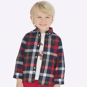 Slim Fit Button Down - Red Plaid- Mayoral