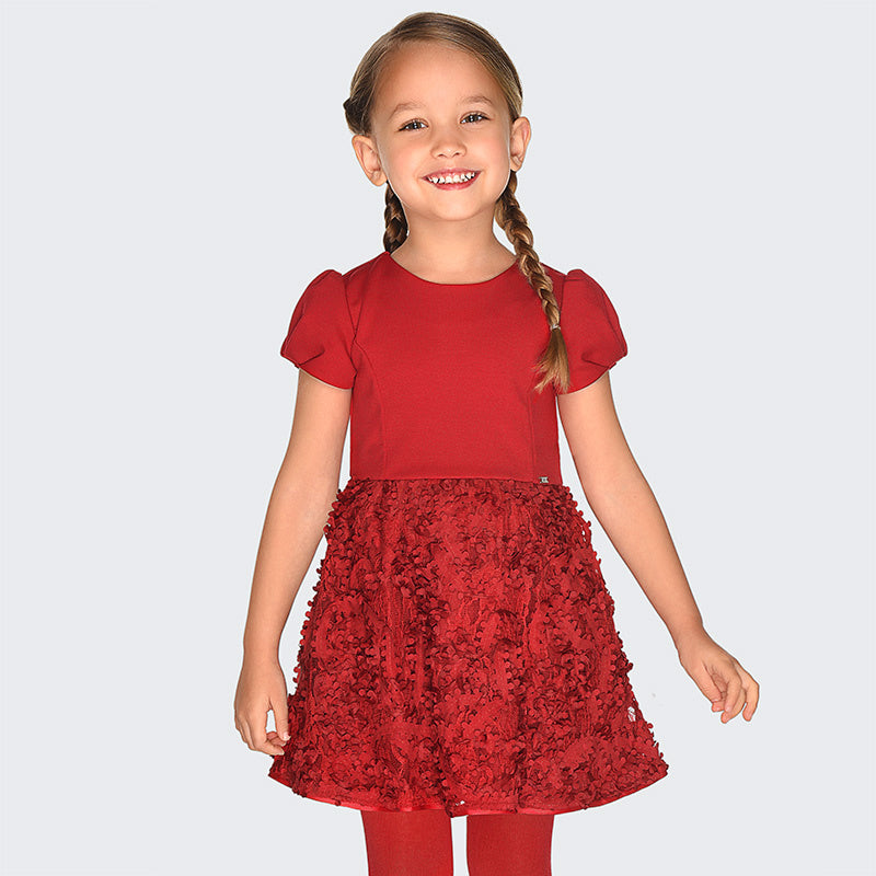 Red Holiday Dress with Lace Embroidered overlay - Mayoral