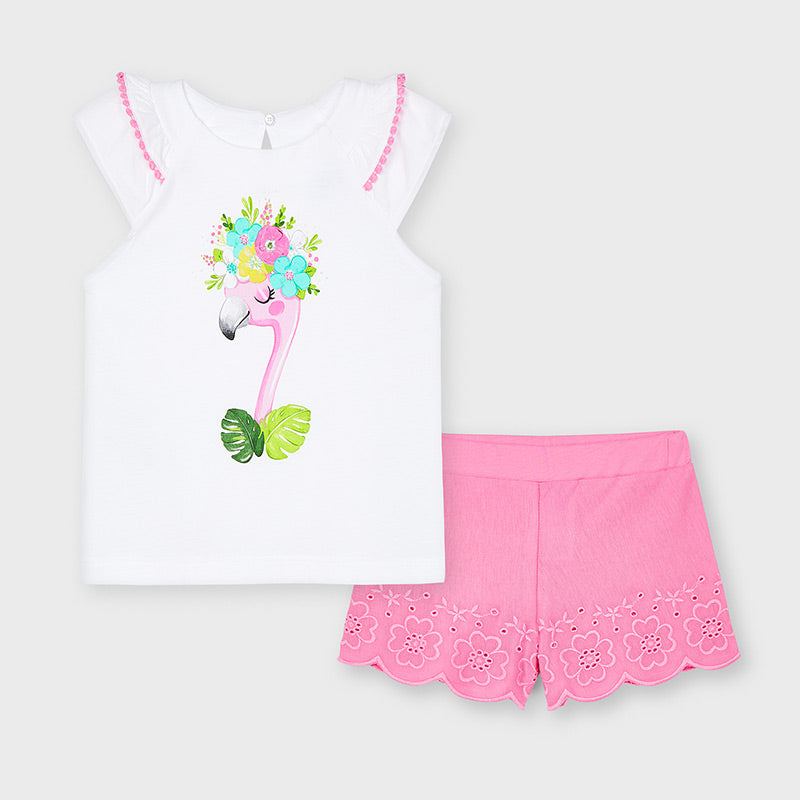 Pink Flamingo Embroidered Short Set