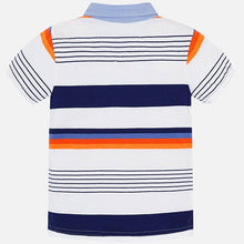 Load image into Gallery viewer, Mayoral Orange & Navy Stripe Polo