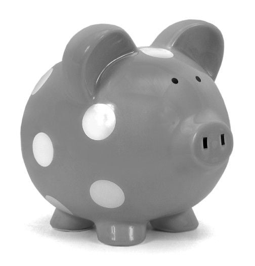 Polka Dot Piggy Bank Gray and White