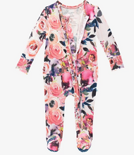 Load image into Gallery viewer, Posh Peanut- Dusk Rose Ruffled Zippered Footie