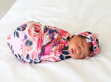 Load image into Gallery viewer, Posh Peanut- Dusk Rose Swaddle & Headwrap Set