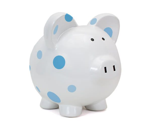 Blue Multi-Dot Piggy Bank