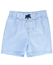 Load image into Gallery viewer, Cornflower Blue Gingham Swim Trunks