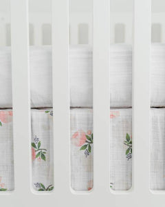 Little Unicorn Cotton Muslin Crib Skirt- Watercolor Roses