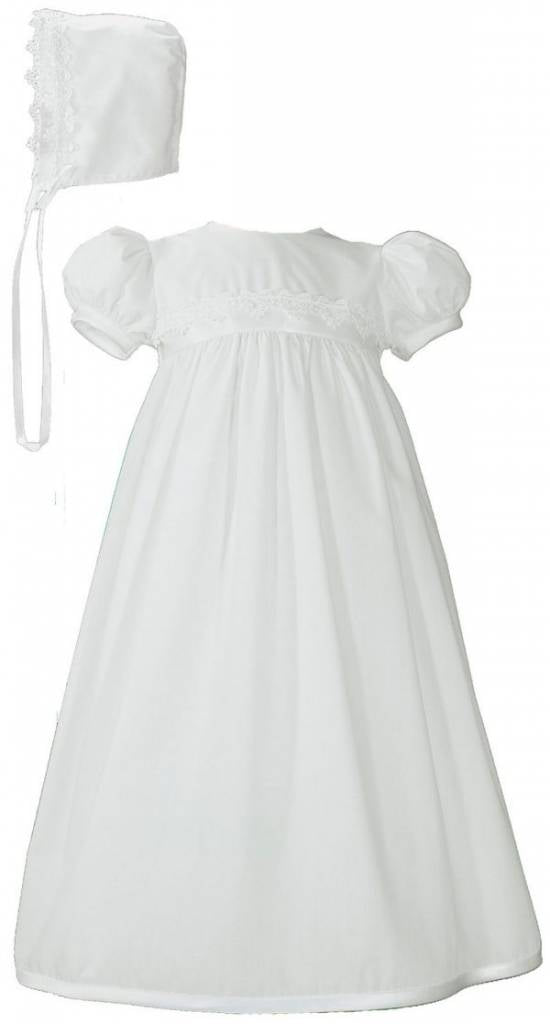 Girls Polycotton Baptism Gown w/bonnet - Lace trim