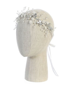 White & Silver Floral Pearl Head Piece